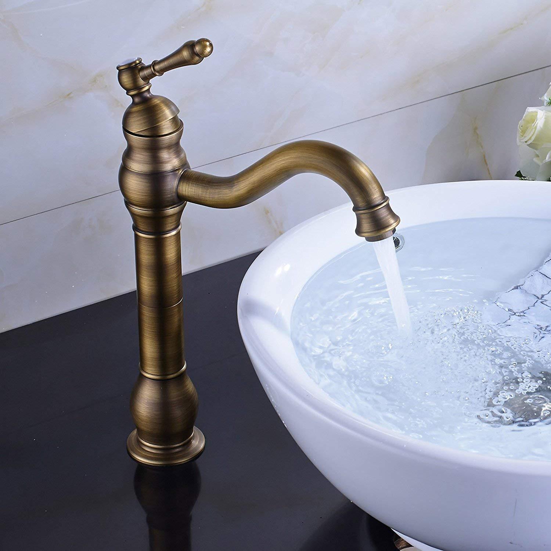 Rozin Antique Brass Bathroom Basin Tap Single Handle Free Rotating Spout Vanity Deck Mounted