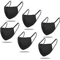 GXZOCK Reutilizables Cara Lavables, Algodón facial Unisex para Hombre y Mujer para Interiores y Exteriores, Negro,(Black…