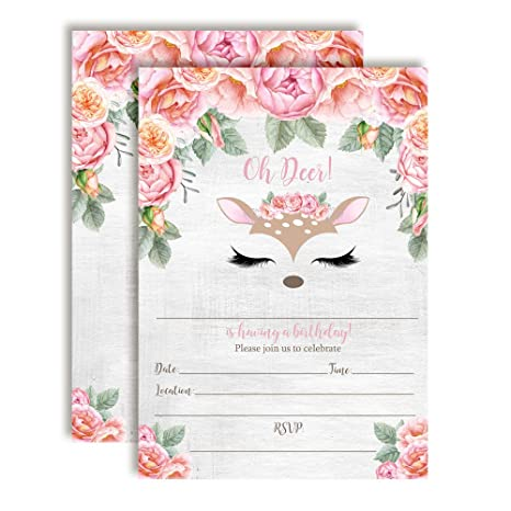 Amazon Com Oh Deer Woodland Watercolor Floral Birthday Party
