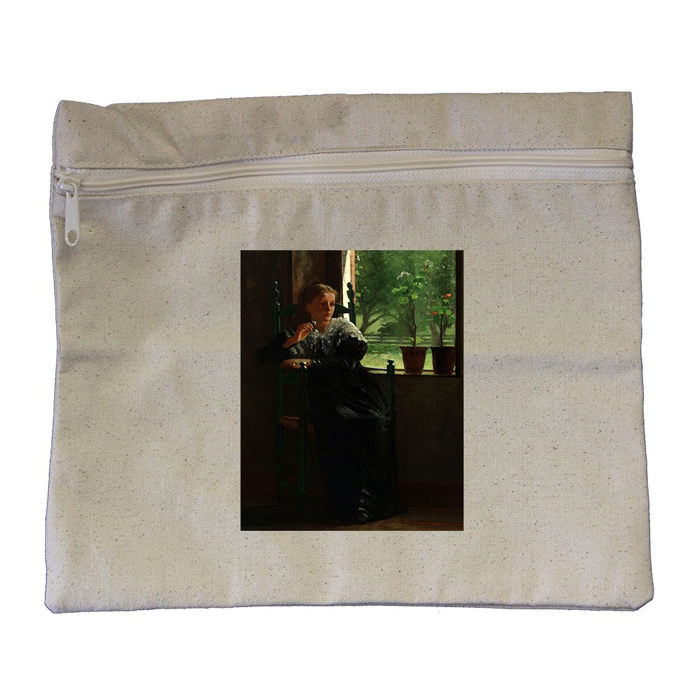 At The Window (Homer) Canvas Zippered Pouch Makeup Bag