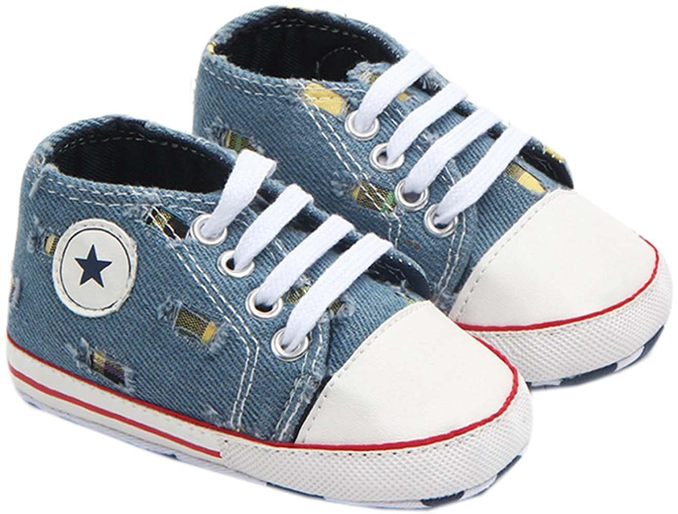0-1 Year bettyhome Cotton Unisex Baby Newborn Blue Ripped Jeans Canvas Soft Sole Infant Toddler Prewalker Sneakers