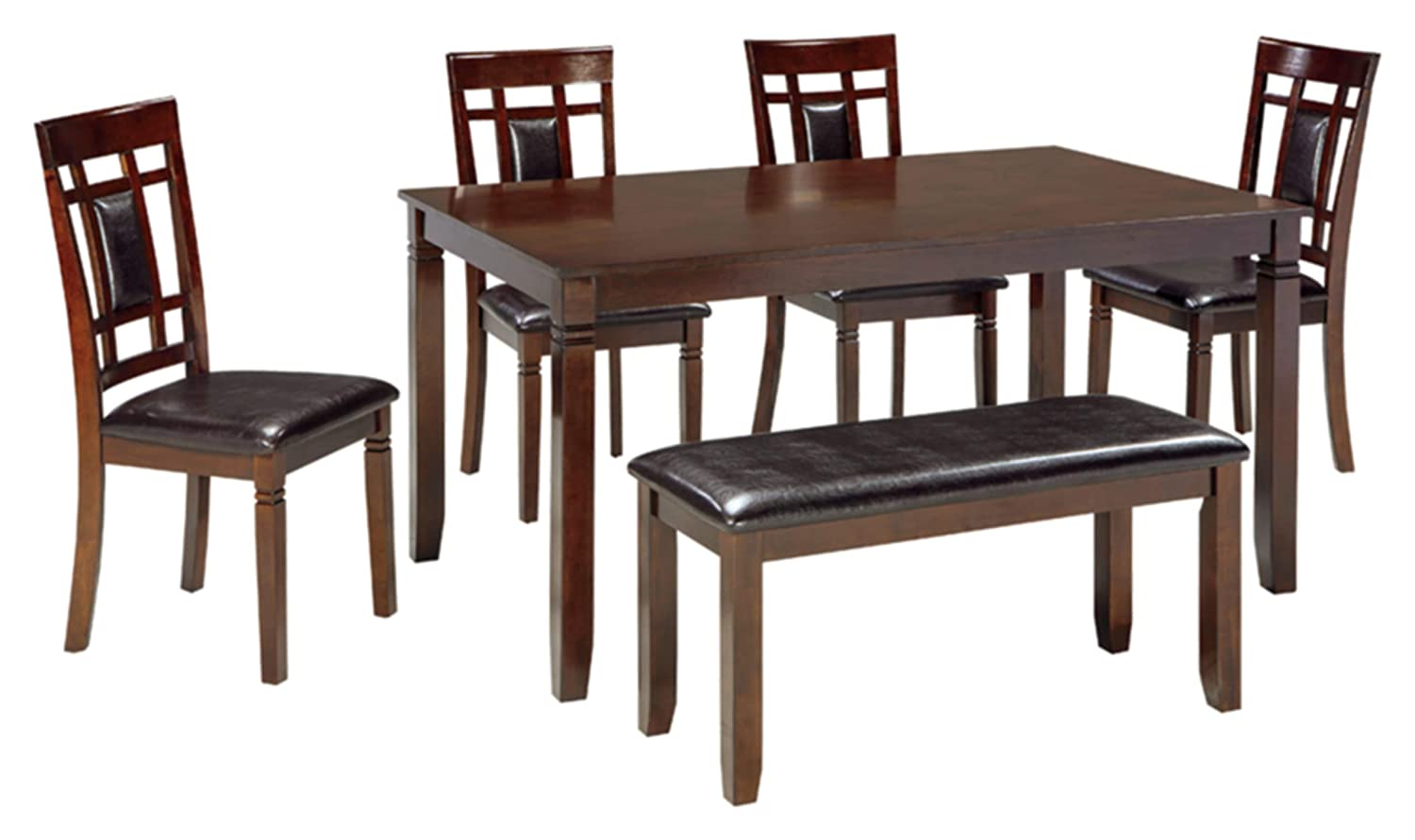 Signature Design - Bennox Dining Room Table and Chairs with Bench (Set of 6) - Brown