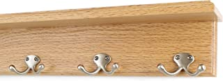 "product image for Oak Shelf Coat Rack with Satin Nickel Double Style Hooks (Natural, 16"" with 3 hooks)"