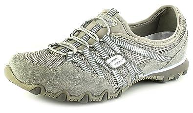 New Womens/Ladies Grey Skechers Bikers Hot Ticket Slip On Shoes - Grey/Light