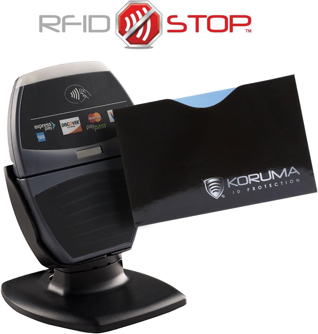 /Étui prot/ége des cartes de cr/édit protection portefeuille Titulaire KUK-87HBLS d/ébit bloquant les signaux RFID // NFC 2 Pack