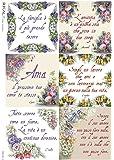 Accademia del Decoupage, 32 x 45 cm, in carta di riso, frasi floreale