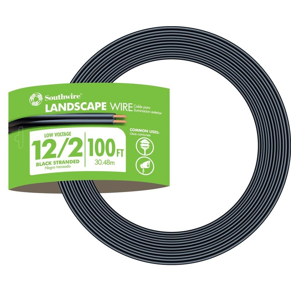 Southwire 55213443 100-Feet 12-Gauge 2 Conductor 12/2 Low-Voltage Underground Direct Burial Landscape Lighting Cable, Black by Southwire