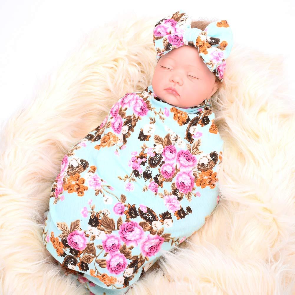 Lantusi Newborn Baby Sleep Receiving Blanket and Bow Headband Set (Blue) by lantusi