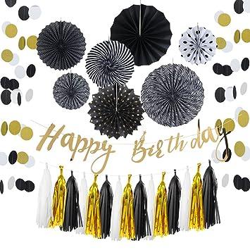 Easy Joy Decoration Anniversaire Noir Et Or 30 40 50 60 Ans Femme Homme Decoration Happy Birthday Doré 13pcs