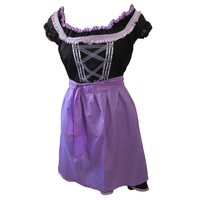 Zoelibat 47026305.008.44 - Dirndl Set, 3-teilig - Trachtenkleid Bluse und Schürze, Größe L (44), schwarz/violett