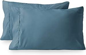 Bare Home Premium 1800 Ultra-Soft Kids Microfiber Pillowcase Set - Double Brushed - Hypoallergenic - Wrinkle Resistant (Standard Pillowcase Set of 2, Coronet Blue)