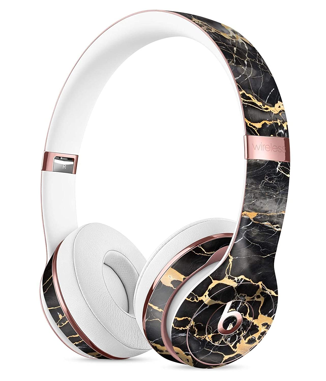 Black and Gold Marble Surface DesignSkinz Full-Body Skin Kit for The Beats  by DRE Solo 3 Wireless Headphones Ultra-Thin Matte Finished Protective Skin  Wrap d4658c358