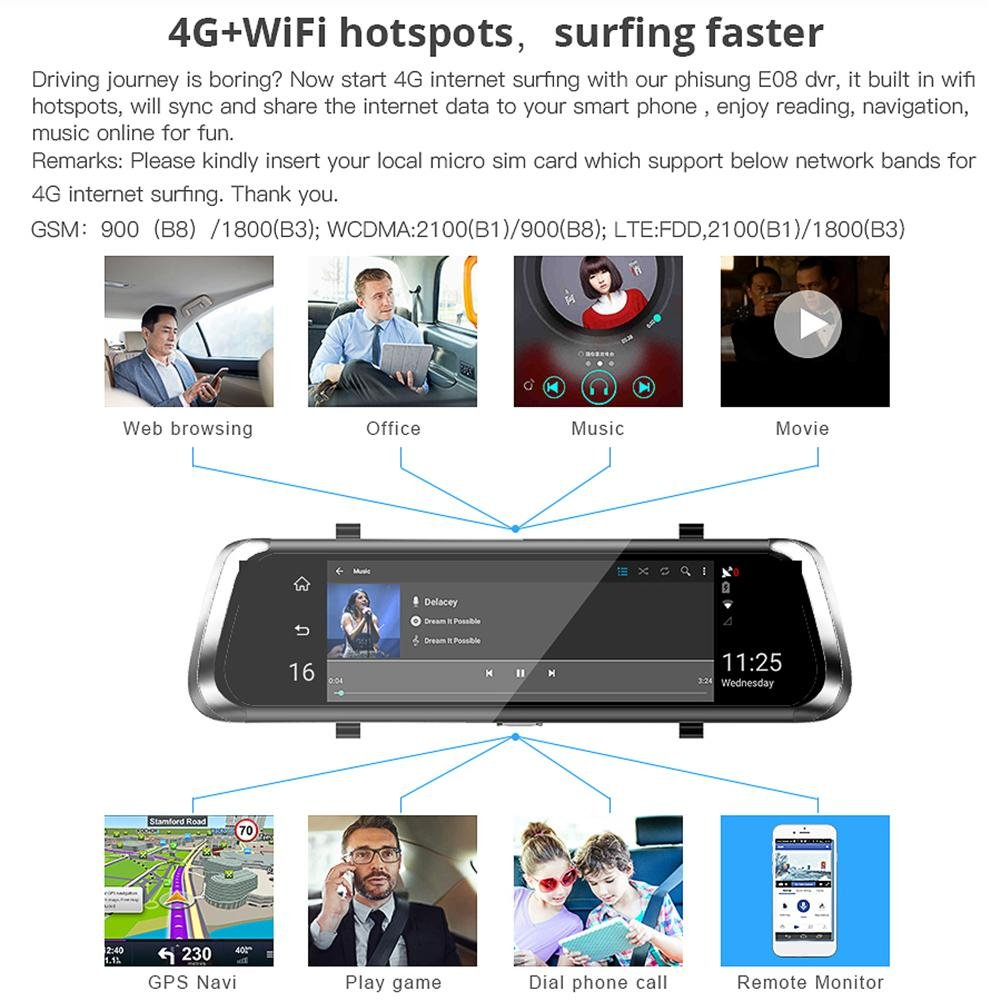 Phisung Touch Screen Dual Lens Bluetooth WiFi 4G Android 4