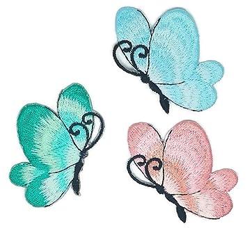 Pequeño tamaño Mix mariposa dibujos bordados para coser hierro sobre bordado apliques manualidades hecho a mano bebé niña ropa mujer DIY disfraz accesorios: ...