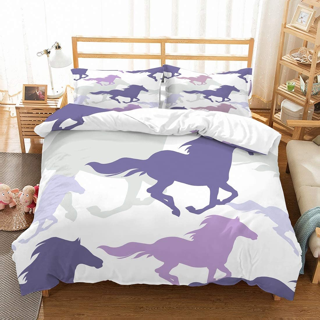 MOUMOUHOME Horse Bedding Set Twin Size Purple/Gray Horses Running Bedspread Printed White Comforter Duvet Cover Set for Kids Teens Adults 2 Pieces with 1 Duvet Cover 1 Pillowcase