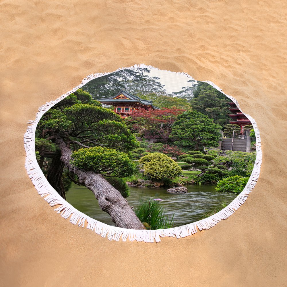 Pixels Round Beach Towel With Tassels featuring ''Japanese Tea Garden - Golden Gate Park'' by Adam Romanowicz by Pixels