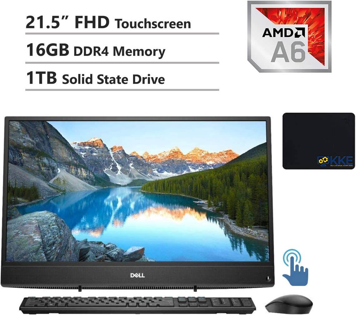"Dell Inspiron 22 3000 All-in-One Desktop Computer 21.5"" FHD Touchscreen, AMD A6-9225, 16GB RAM, 1TB SSD, HDMI, Multi-Card Reader, USB 3.1, Wi-Fi, Bluetooth, Win10"