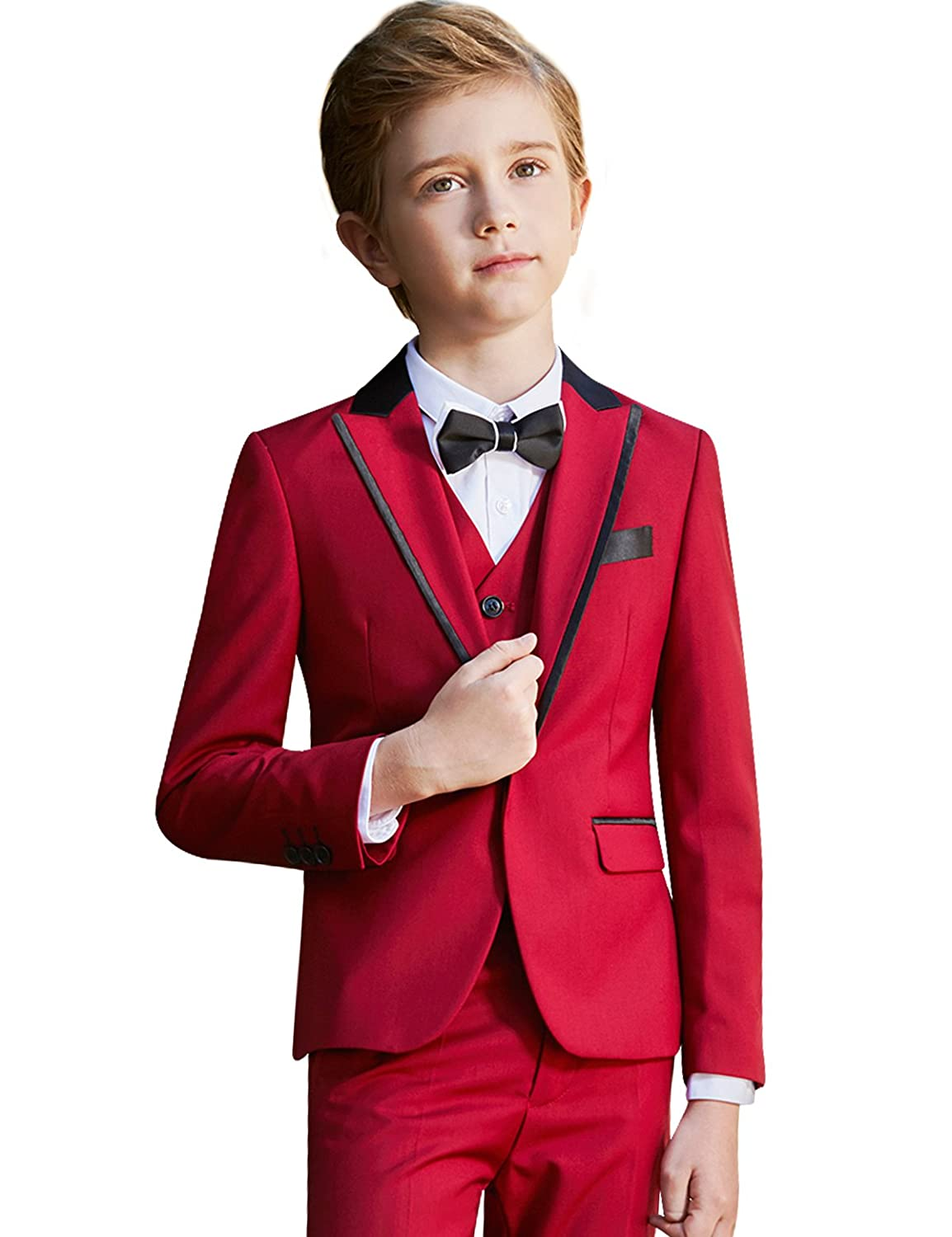 f58aed1b4 ELPA ELPA Boys Tuxedo Suits Kids Slim Fit Dress Wear 5 Pcs Formal Outfit