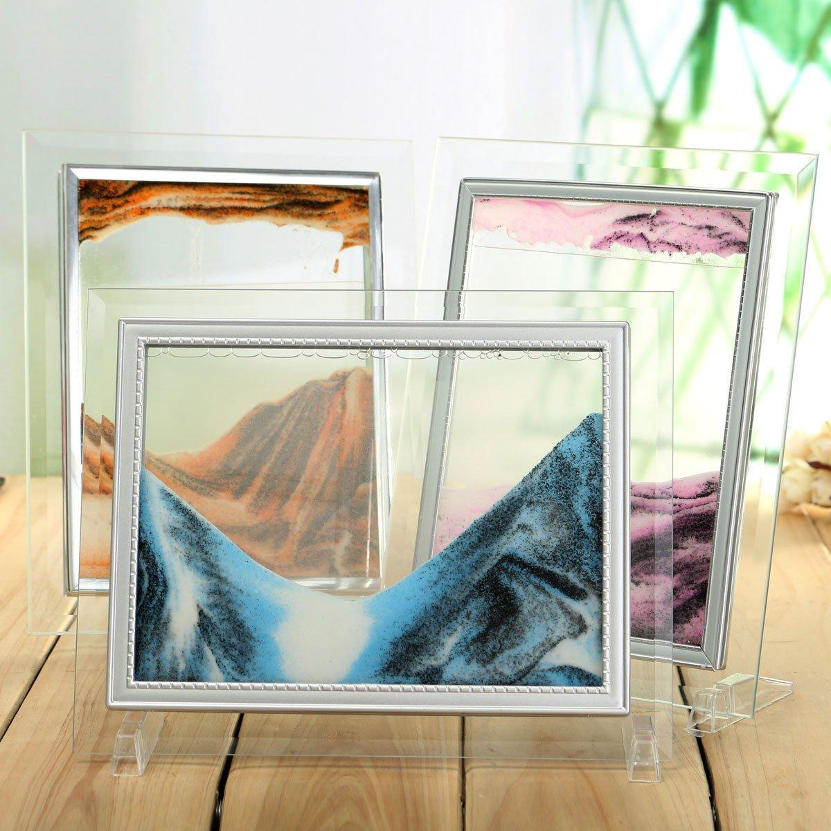 Bazaar Sand Art Picture Moving Sand Glass Home Office Desk Table Holder Decor Quicksand Birthday Gift Big Bazaar