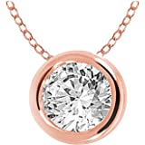 "EternalDia 10k Gold Round Diamond Solitaire Pendant Necklace Bezel Set (0.33cttw, IJ, I1-I2) 18"" / 14k Gold Round…"