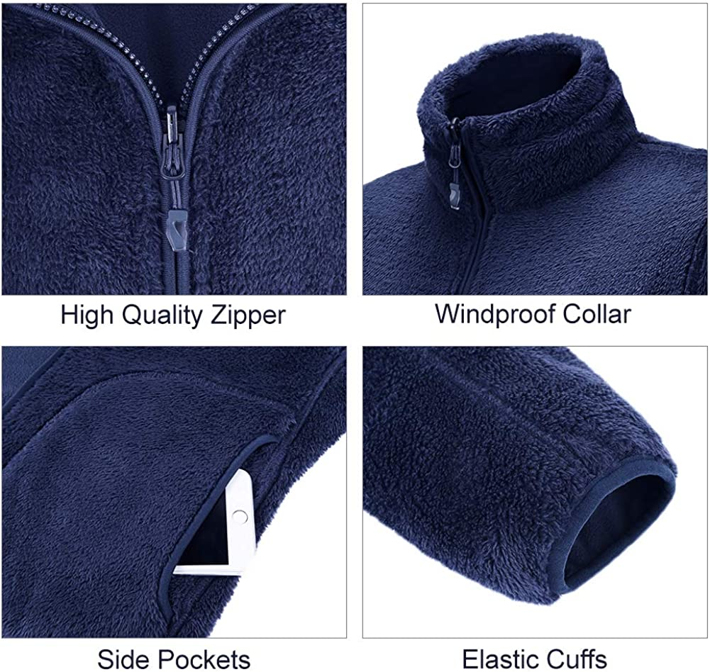 CAMELSPORTS Women Full Zip Fleece Jacket Reversible Soft Warm Polar Fleece Winter Jacket with Pockets
