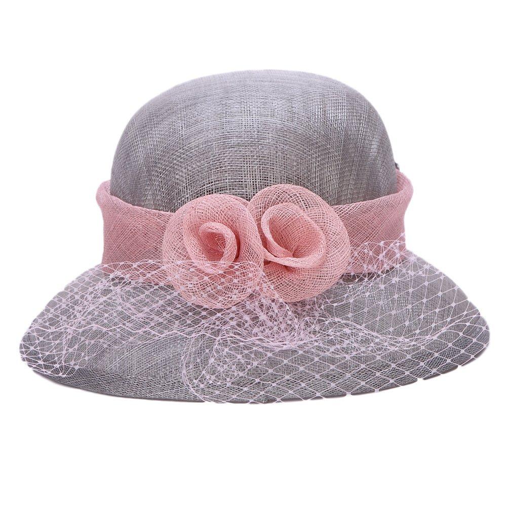 Koola s hats Sombrero Gris de Boda Sombrero de la Iglesia Sombrero con Ala  Estrecha con Encaje  Amazon.es  Ropa y accesorios ba4e7a44556