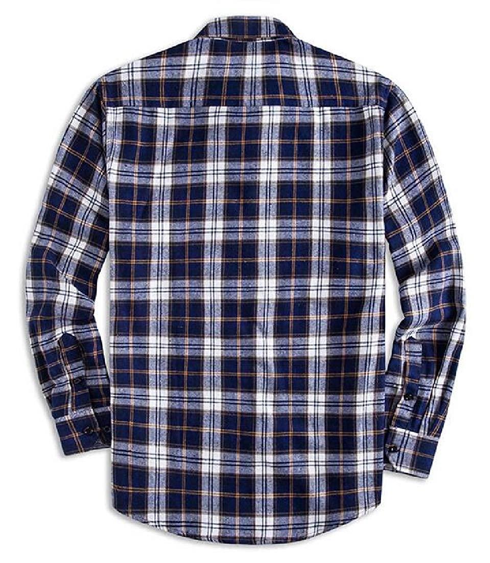 Suncolor8 Mens Lapel Casual Plaid Print Loose Fit Long Sleeve Button Up Dress Shirt