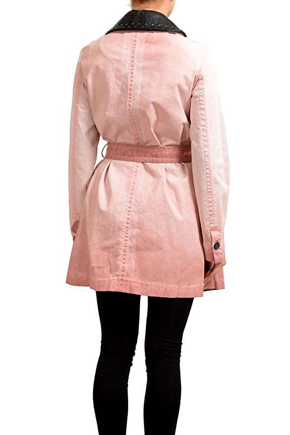 cf59991a1b939 Amazon.com: Just Cavalli Pink Belted Button Down Women's Trench Coat US S  IT 40: Clothing