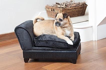 Lujo perro cama/sofá Chaise Lounge – elegante diseño en negro con almacenamiento Ideal para