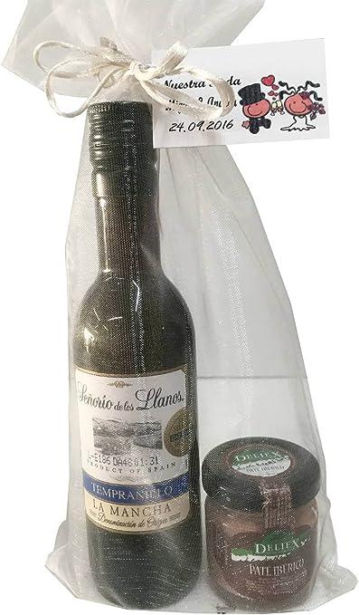 Regalo de vino Señorío de los Llanos Tempranillo con tarro miniatura de paté ibérico para invitados (Pack 24 ud): Amazon.es: Hogar