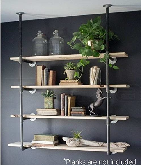 WGX Design For You Industrial Retro Wall Mount Iron Pipe Shelf Hung Bracket DIY Storage Shelving Bookshelf Custom Made