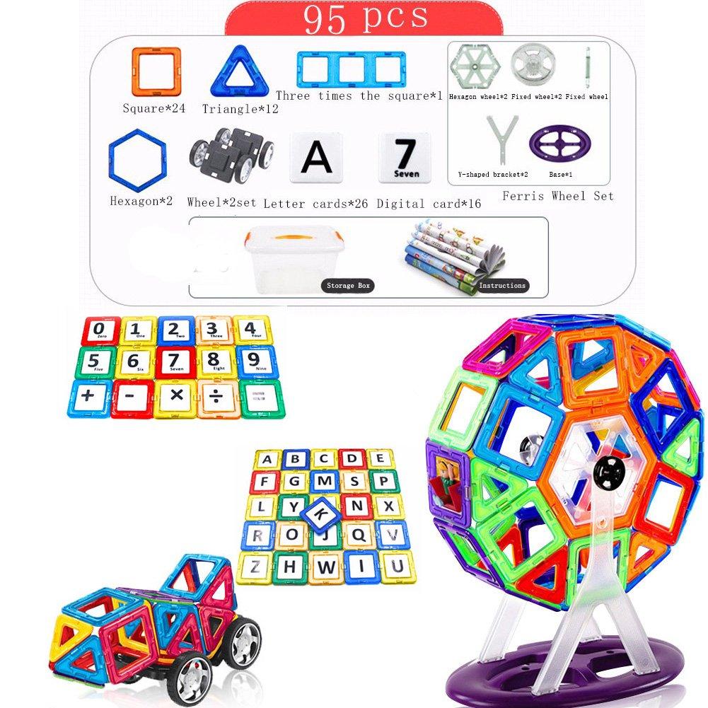 95 Pcs ZHIZU Magnetic Building Blocks Educational DIY Magnetic Blocks Magnetic Construction Stacking Toys Magnetic Tiles For Kids 3+ Years (113 Pcs)