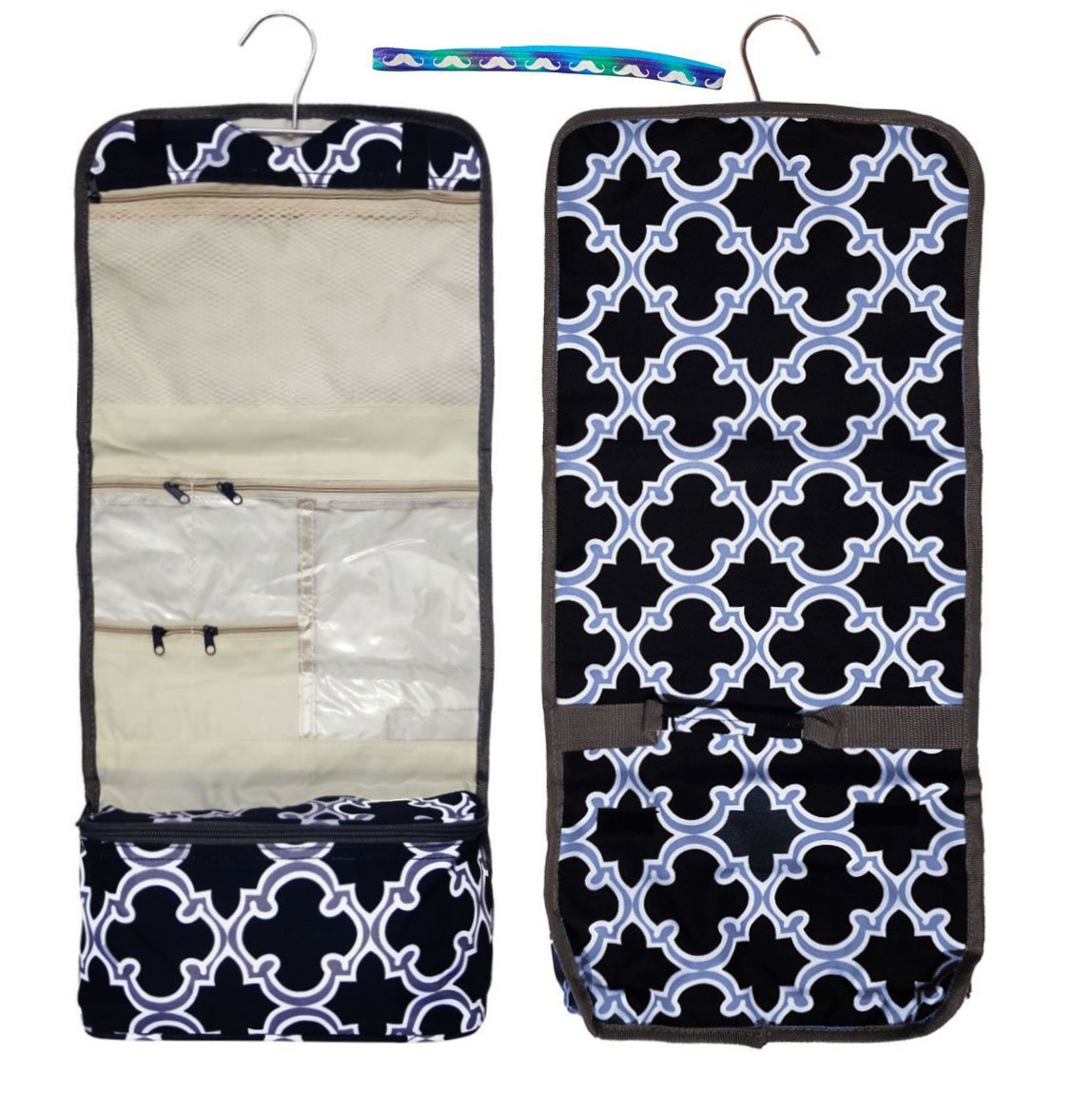 New Black Gray Quatrefoil Hanging Toiletry Makeup Cosmetic Travel Case Kit Bag Accessories Unique Cool Birthday Boys Summer Camp Supplies 2018 for Father Him Men Husband Brother Papa Son Boyfriend