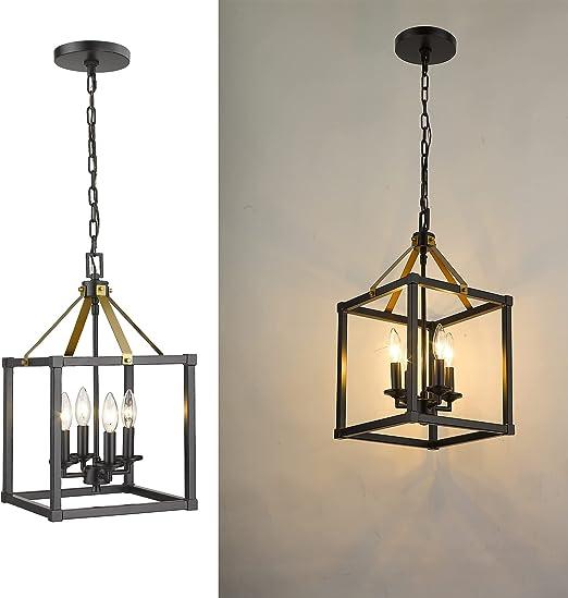 EAPUDUN Farmhouse Pendant Light, 4-Light Metal Wire Cage Hanging Lantern for Kitchen Island, Matte Black&Brass Finish, PDA1275-MBK