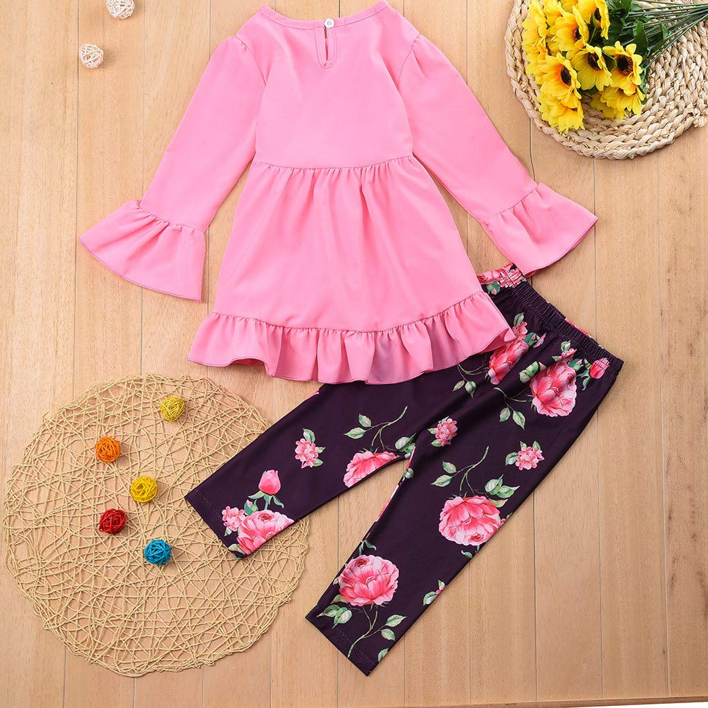 2 PC Fashion Kids Girls Outfits Sets 1-5T Toddler Solid Ruffle Tops T-Shirt Flower Print Pants Legging Clothes