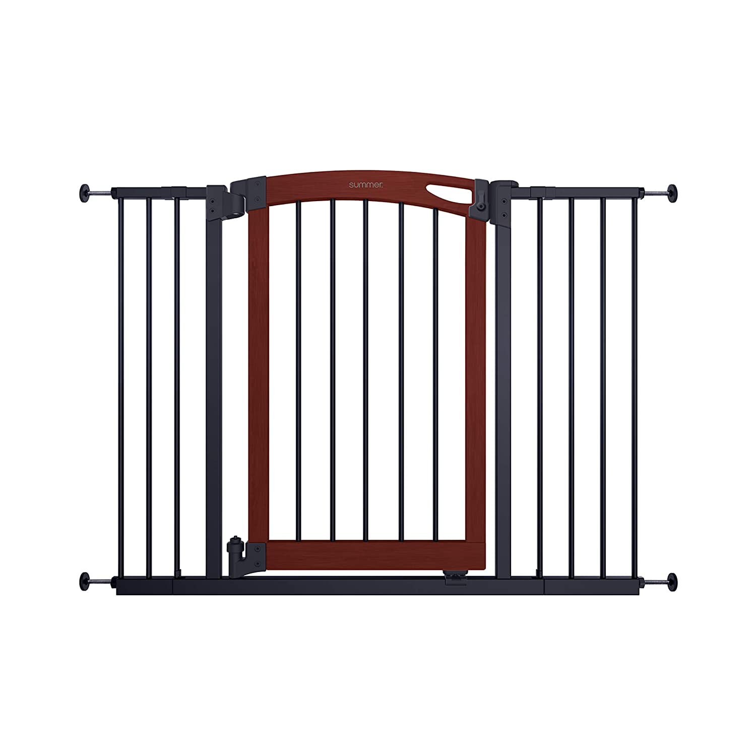 "Summer Essex Craft Safety Baby Gate, Solid Wood Cherry Stain Arched Doorway with Charcoal Gray Metal Frame – 30"" Tall, Fits Openings up to 28"" to 42"" Wide, Baby and Pet Gate for Doorways and Stairways"