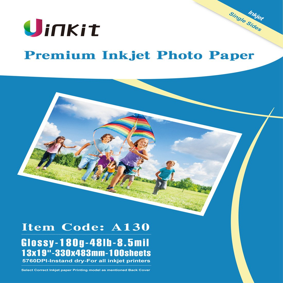 Glossy Photo Paper 13x19 inches - Uinkit 100sheets 13x19 Inkjet Paper 8.5Mil 180Gsm Inkjet Printing Only