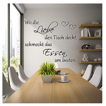 Wandschnörkel® Wandtattoo AA050 Küche ~Wo die Liebe den Tisch deckt ...