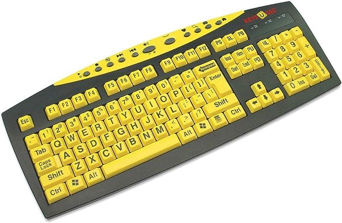 Keys-U-See - Teclado Grande con impresión en Blanco y Amarillo