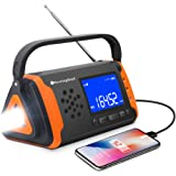 Emergency NOAA Weather Crank Solar Powered Portable Radio with 4000mAh Battery Power for Cell Phone, Bright Flashlight for Ho