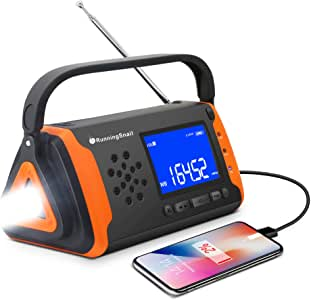 Emergency NOAA Weather Crank Solar Powered Portable Radio with 2000mAh Battery Power for Cell Phone, Bright Flashlight for Household Emergency and Outdoor Survival (097-Orange)