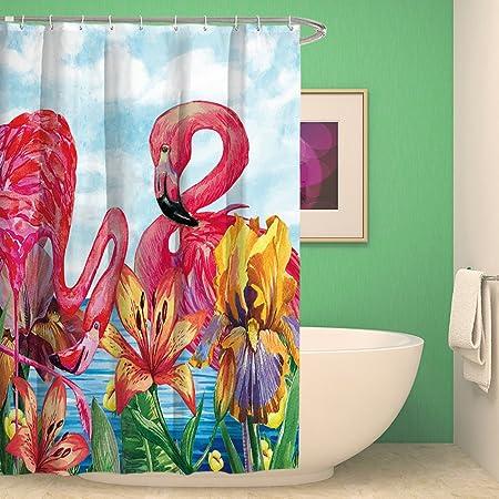 Colorful Flamingo Shower Curtain Extra Long Bathroom Decor Sets