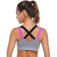 Yoga BH Damen Liusdh Verstellbarer Sport-Frontverschluss Extra-elastischer atmungsaktiver BH mit Spitzenbesatz