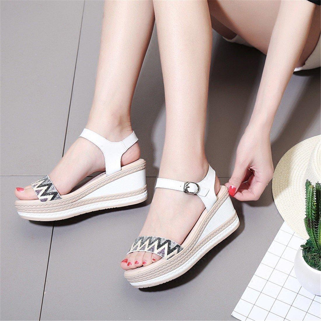 WXMDDN Sommer Fashion damen es Slope Slope Slope und Sandalen Wasserdichte Plateauschuhe Flache Boden mit Einem Dicken Boden Schuhe B07D7VPF3F Tanzschuhe Verrückter Preis 638b4d