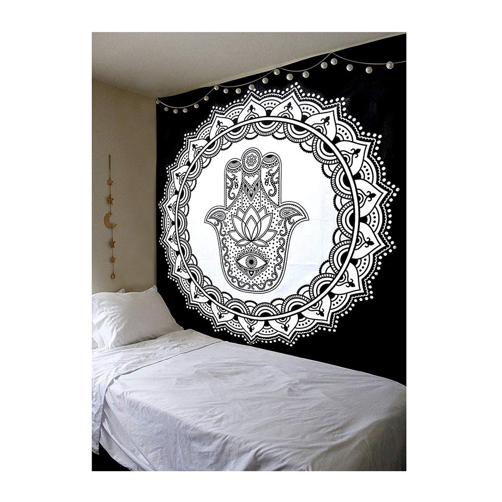 Tapestry Black and White Dream Catcher Hippie Tapestry Bohemian Tapestry Meditation Yoga Beach Cloth -200CM×150CM Tapestry (Pattern : B) by HappyL