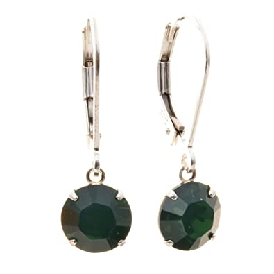pewterhooter 925 Sterling Silver lever back earrings handmade with Palace Green Opal crystal from SWAROVSKI®.