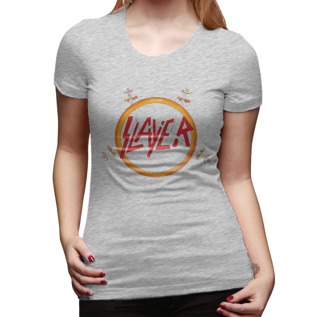 Short Sleeve T Shirt Hipster Retro Maneg Slayer Rock Band Logo Gray 8596