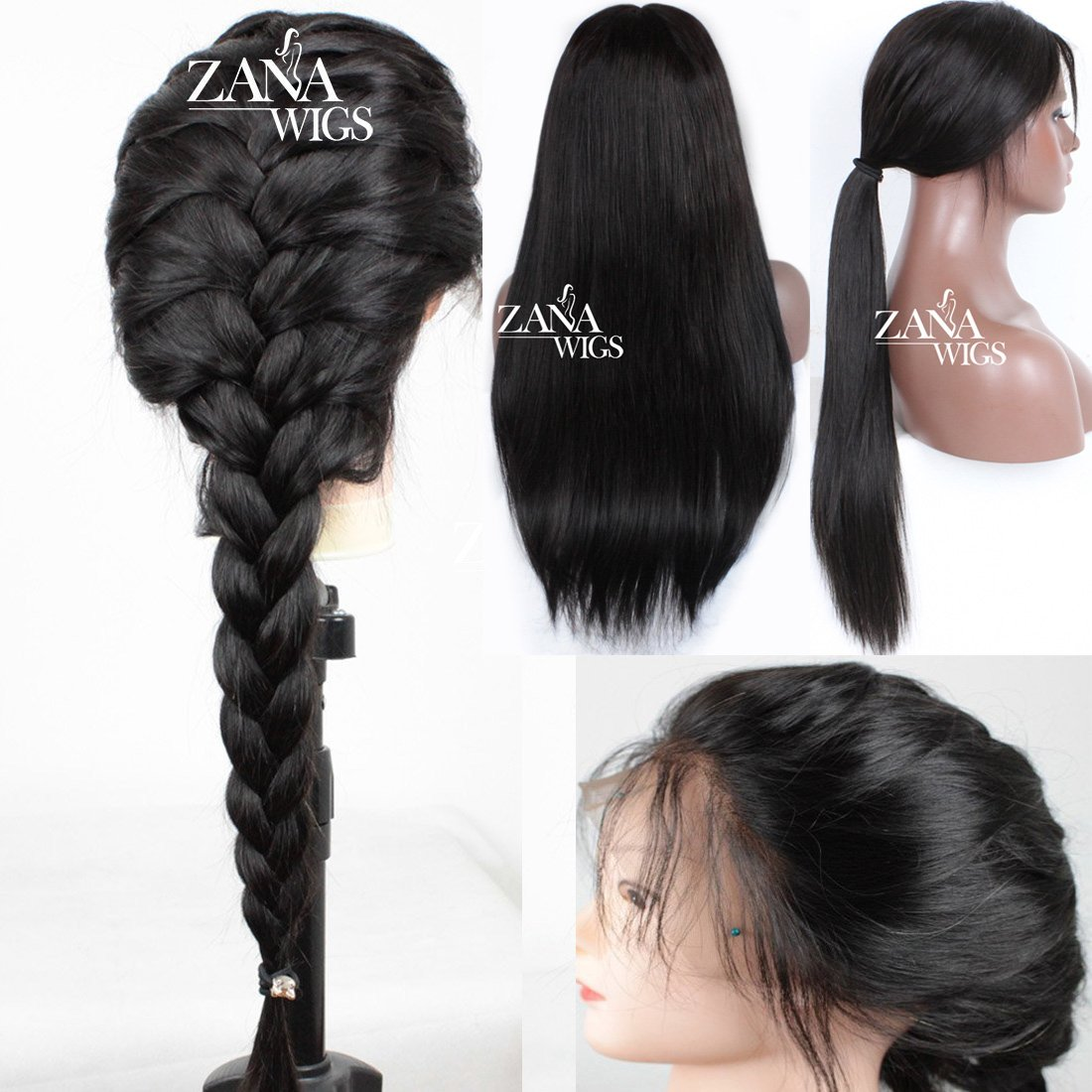 7A Grade Brazilian Virgin Glueless Human Hair Full Lace Front wigs with Baby Hair Brazilian Silky Straight Lace Front Wigs For Black Women Zana Wigs