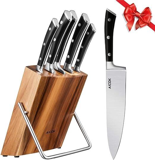 Compra AICOK Juego de bloques de Cuchillo cocinero profesional | 6 ...