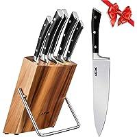 Aicok Messenblok set, 6-delig, koksmessenset met scherpe messen, hoogwaardig roestvrij staal, ergonomische handgreep…